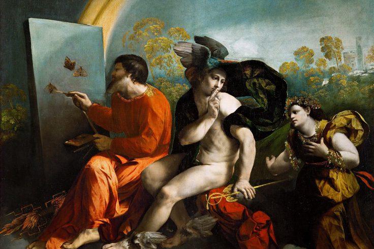 Dosso Dossi, Giove pittore di farfalle, Mercurio e la Virtù